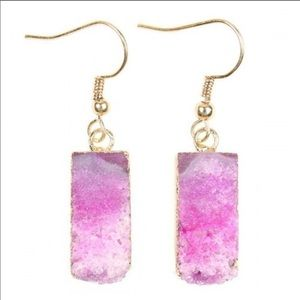 !!NEW!! Pink natural stone druzy earrings!!